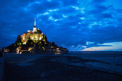 Night View of The Mont-Saint-Michel in France Stock Image