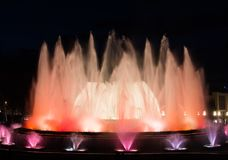 Magical Montjuic fountain in Barcelona, night show Royalty Free Stock Image