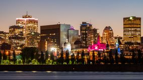 Night view of the Montreal city skyline, city hall with St Lawrence river royalty free stock image