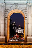 Night view of the monument Puerta de Alcala. Madrid, Spain Royalty Free Stock Photos