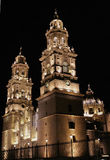 Night view morelia cathedral. Night view of the cathedral of the morelia city, mexico Royalty Free Stock Photography