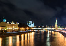 Night view of Moscow. From a bridge that cross the Moskova river royalty free stock image