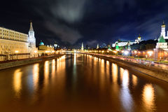 Night view of Moscow from a bridge. That cross the Moskova river royalty free stock images