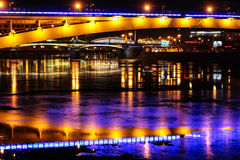 Night view on Moscow bridges Royalty Free Stock Image