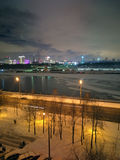 Night view of Moscow. City and river, technopark and building of Disneyland in Moscow Royalty Free Stock Photo