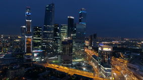Night view of Moscow downtown. Aerial. stock footage
