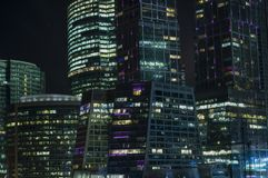 Night view of the Moscow International Business Center stock photos