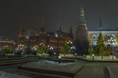 Night view of the Moscow Kremlin and Christmas trees in the lights royalty free stock images
