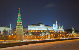 Night view of Moscow Kremlin, Russia Royalty Free Stock Images