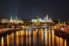 Night view of Moscow Kremlin in Russia Royalty Free Stock Images
