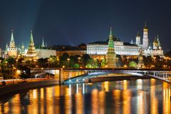 Night view of Moscow Kremlin in Russia Royalty Free Stock Photos