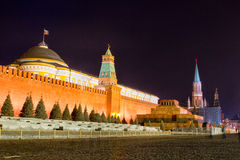 Night view of Moscow Red Square. Spasskaya Tower of Kremlin Stock Images
