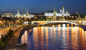Night view of Moscow River, Embankment, Bridge and Kremlin Royalty Free Stock Photography