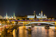 Night View of Moscow River and Kremlin Stock Photo