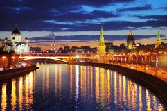 Night view of Moscow, Russia Royalty Free Stock Photography