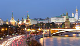Night view of the Moskva River, the Great Stone Bridge and the Kremlin, Moscow, Russia Stock Photo