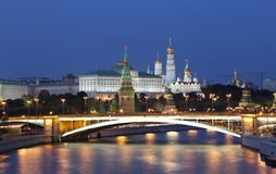 Night view of the Moskva River, the Great Stone Bridge and the Kremlin, Moscow, Russia Stock Image