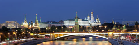 Night view of the Moskva River, the Great Stone Bridge and the Kremlin, Moscow, Russia.  stock images