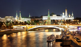 Night view of the Moskva River, the Great Stone Bridge and the Kremlin, Moscow, Russia Royalty Free Stock Images