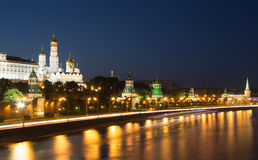 Night view of the Moskva River and Kremlin, Russia, Moscow Stock Photography
