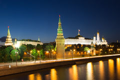 Night view of the Moskva River and Kremlin, Russia, Moscow Royalty Free Stock Photo