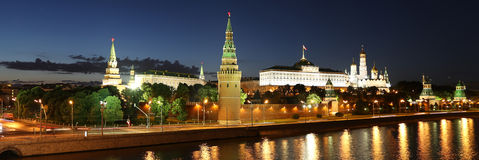 Night view of the Moskva River and Kremlin, Russia, Moscow Stock Photo