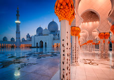 Night view at Mosque, Abu Dhabi, United Arab Emirates Royalty Free Stock Image