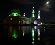 Night view of mosque with moon Royalty Free Stock Photos