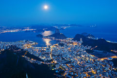 Night view of mountain Sugar Loaf and Botafogo in Rio de Janeiro. Brazil royalty free stock photo