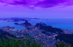 Night view of mountain Sugar Loaf and Botafogo in Rio de Janeiro Stock Photography
