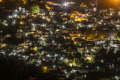 Night view of the mountainous village of Metsovo, Greece. View of the mountainous village of Metsovon, in Ioannina prefecture, in Epirus region, northern Greece Stock Images
