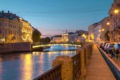 Night view on Moyka River and Fonarny Bridge Stock Photos