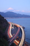 Night view of Mt. Fuji and Expressway Stock Image