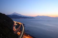 Night view of Mt. Fuji and Expressway Stock Photos