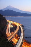 Night view of Mt. Fuji and Expressway Stock Photo