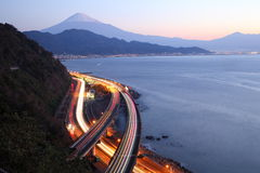 Night view of Mt. Fuji and Expressway Royalty Free Stock Image