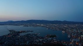 Night view from Mt. Hakodate observation deck, the expansive vista light up in evening is spectacular. A famous three star rating sightseeing spot in Hakodate stock video footage