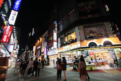 Night view of Myeongdong street in Seoul, South Korea Royalty Free Stock Image