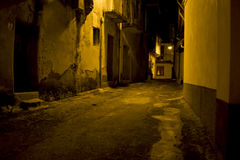 Night view of a n alley of an ancient village Royalty Free Stock Images