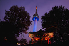 Night view of N Seoul Tower Royalty Free Stock Image