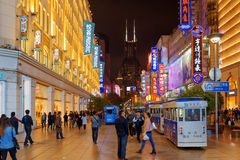 Night view of Nanjing Road Pedestrian Street in Shanghai, China Stock Photography