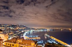 Night view of Naples from Posillipo Royalty Free Stock Images