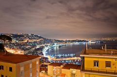 Night view of Naples from Posillipo Royalty Free Stock Photos