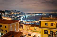 Night view of Naples from Posillipo Stock Image