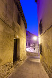 Night view of narrow street of Cuenca Stock Image