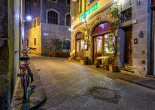 Night view of narrow street in Florence, Tuscany Royalty Free Stock Images