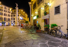 Night view of narrow street in Florence, Tuscany stock images