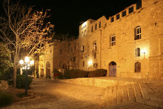 Night view on narrow street in old Jaffa Royalty Free Stock Photography