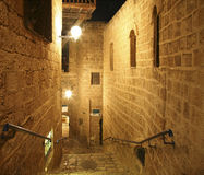 Night view on narrow street  in old Jaffa Stock Photos