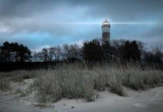Night view of Narva-Joesuu town Lighthouse Stock Photo